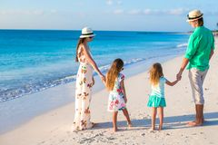 Young family with two kids on tropical vacation in Stock Photos