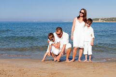 Young family with two kids on vacation Stock Image