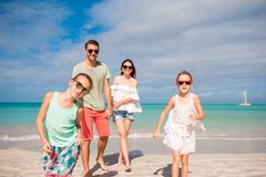 Young family on vacation have a lot of fun together royalty free stock image
