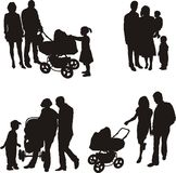 Young family (vector). A simple silhouette of a group of people, parents and their children Royalty Free Stock Photo