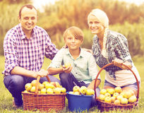 Young family in the village Royalty Free Stock Photos