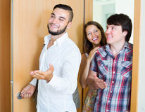 Young family visit  new modern apartment Royalty Free Stock Photo