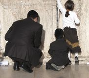 Young family at the Wailing Wall Royalty Free Stock Photos
