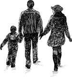 Young family on a walk Royalty Free Stock Image