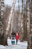 Young family walk in winter wood. Parent pulling Royalty Free Stock Images
