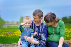 Young family walking on the meadow with yellow flowers in spring Royalty Free Stock Photography