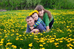 Young family walking on the meadow with yellow flowers in spring Royalty Free Stock Image
