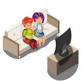 Young family watching tv in living room. Isometric view vector illustration Royalty Free Stock Photo