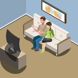 Young family watching tv in living room royalty free illustration