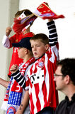 Young Fans of  Bayern Munich. Fans of  Bayern Munich on the field in Passau Germany Stock Images