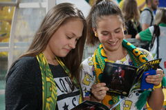 Young fans of FC Kuban study program from the upcoming match Royalty Free Stock Image