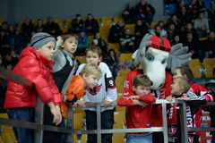 Young fans of the hockey club  Stock Photos