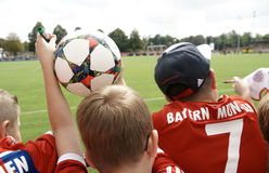 Young fans at the a training session of FC Bayern Muenchen Royalty Free Stock Image