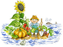 Young farmer boy. With harvested fruits and vegetables on uninhabited island Royalty Free Stock Image