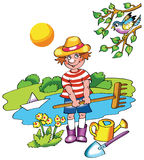 Young farmer boy in sunny day. Young farmer boy  in spring sunny day Royalty Free Stock Photos