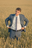 Young farmer businessman in a wheat field. Successful farmer businessman standing in the wheat field  and smiling Stock Photography