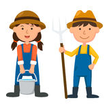 Young farmer. Illustration of  young farmer on white background Stock Photo