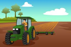 Young Farmer Riding a Tractor Illustration royalty free illustration