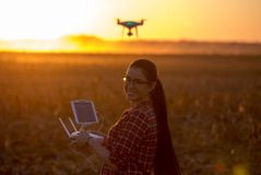 Woman navigating drone above farmland. Young farmer woman navigating drone above farmland. High technology innovations for increasing productivity in agriculture royalty free stock photos