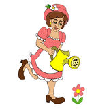 Young farmer. Working in the garden. Garden watering Cartoon vector illustration on a white background Royalty Free Stock Photos