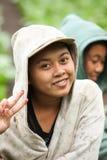 Young farming girls. LAKE BATUR, BALI - JANUARY 21. Portrait of young woman on Lake Batur on January 21, 2012 in Bali, Indonesia. Children help their parents Stock Photos