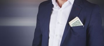 Young fashion business man suit pocket money stock photo