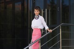 Young fashion business woman in white blouse and pink skirt Royalty Free Stock Image