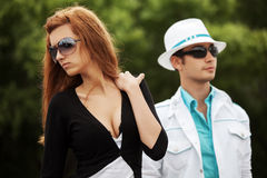 Young fashion couple in conflict outdoor Stock Photo