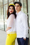 Young fashion couple girl and boy Stock Photos