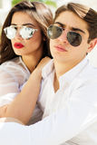 Young fashion couple girl and boy Royalty Free Stock Photography