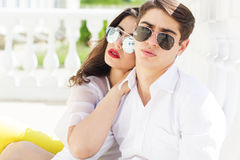 Young fashion couple girl and boy Royalty Free Stock Photo