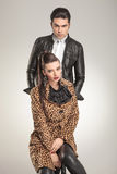 Young fashion couple looking at the camera. Royalty Free Stock Image