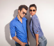 Young fashion couple posing together Royalty Free Stock Image