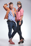 Young fashion couple posing together Stock Images