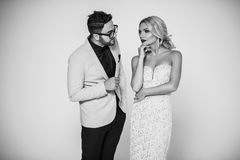 Young fashion couple on a white background in studio Stock Photography
