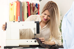 Young Fashion Designer Sew Stock Image