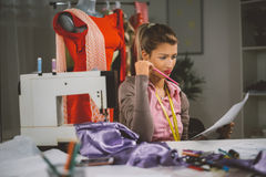 Young Fashion Designer At Work Stock Images