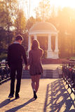 Young fashion elegant stylish Hipster couple at dawn Royalty Free Stock Image
