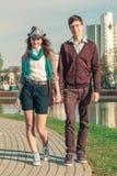 Young fashion elegant stylish Hipster couple stock photos
