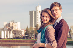 Young fashion elegant stylish Hipster couple Stock Photo