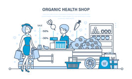 Young fashion girl attends organic health store with large shopping. stock illustration