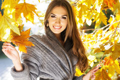 Young fashion girl in autumn park Royalty Free Stock Image