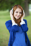 Young fashion girl with headphones   Stock Image