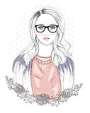 Young fashion girl illustration. Hipster girl with glasses Stock Photos