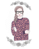 Young fashion girl illustration. Hipster girl with glasses Royalty Free Stock Photo