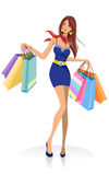 Young fashion girl with shopping bags Royalty Free Stock Images