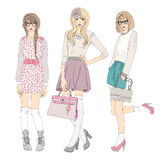 Young fashion girls illustration. Royalty Free Stock Photography