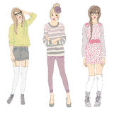 Young fashion girls illustration. Stock Images