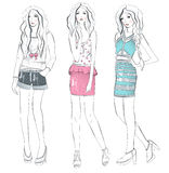 Young fashion girls illustration Stock Image