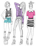 Young fashion girls illustration Royalty Free Stock Photos
